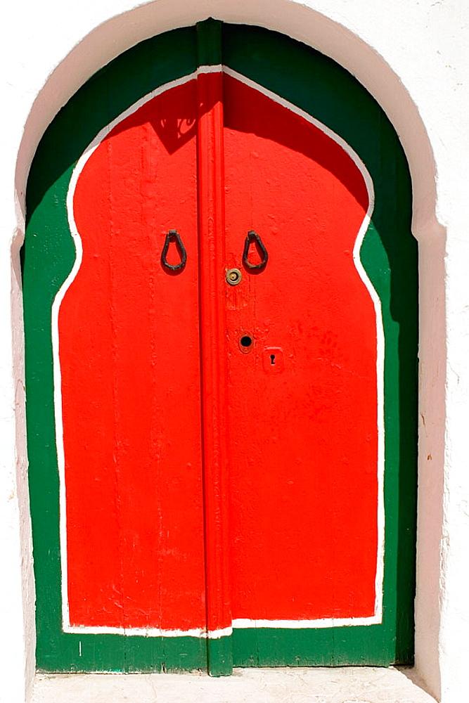 Red and green doorway, Sidi Bou Said, Tunisia