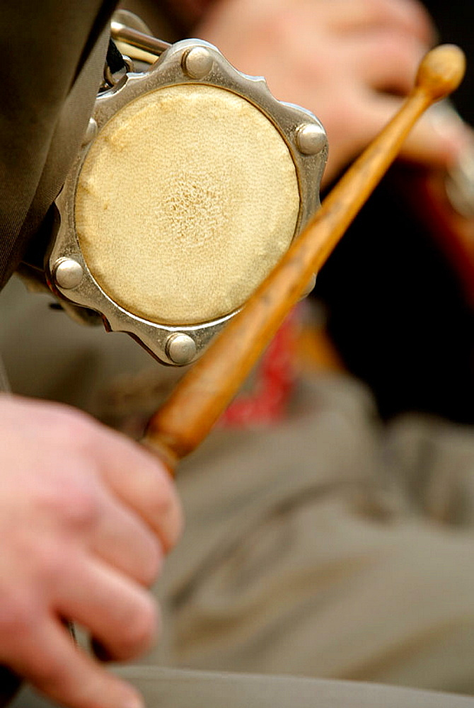 Tambori is the instrument giving the rhythm in a sardana in a Cobla (music band), Sardanas in Crespia Fira de la Mel (Honey Fair), Pla de l'Estany, Girona province, Spain.