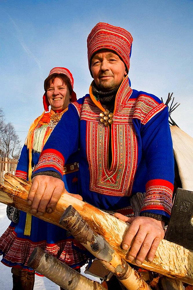 Sami (lapp) people, Sami experience in Boazo Sami Siida, Alta, Finnmark, Lapland, Norway. - 817-16432