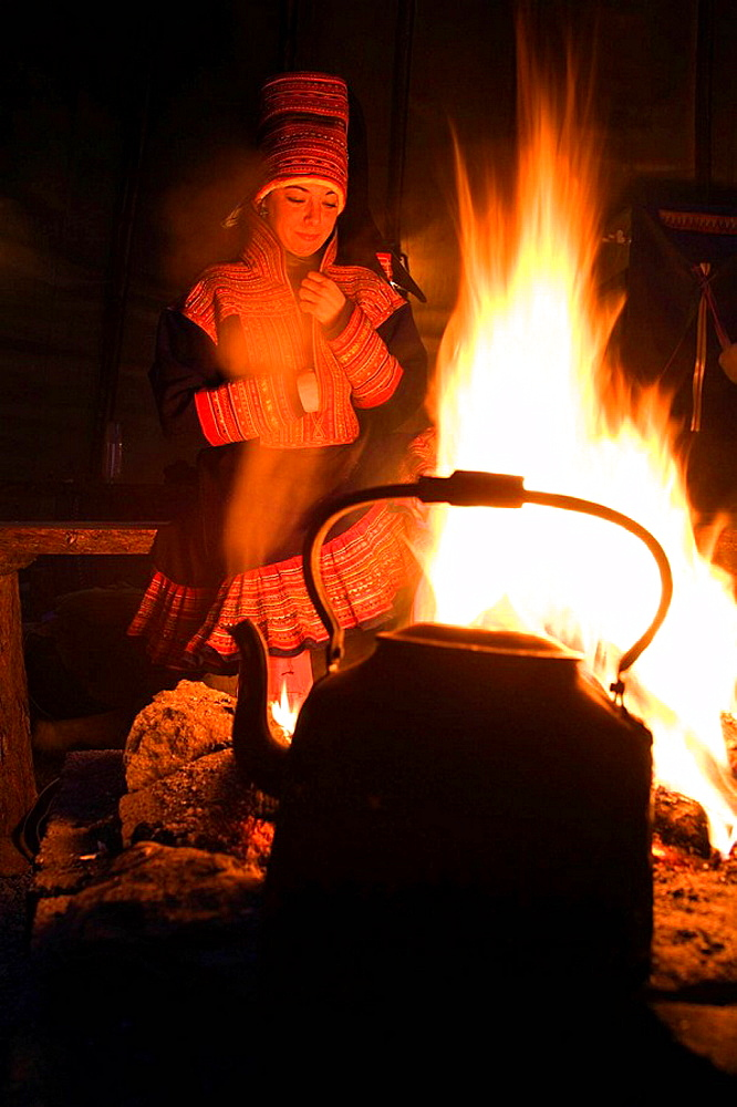 Sami (lapp) people, Sami experience in Boazo Sami Siida, Coffe and fire inside a tent,  Alta, Finnmark, Lapland, Norway.