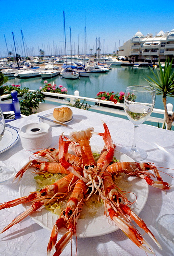 Lobsters dish in restaurant by marina, Benalmadena, Costa del Sol, Malaga province, Andalusia, Spain