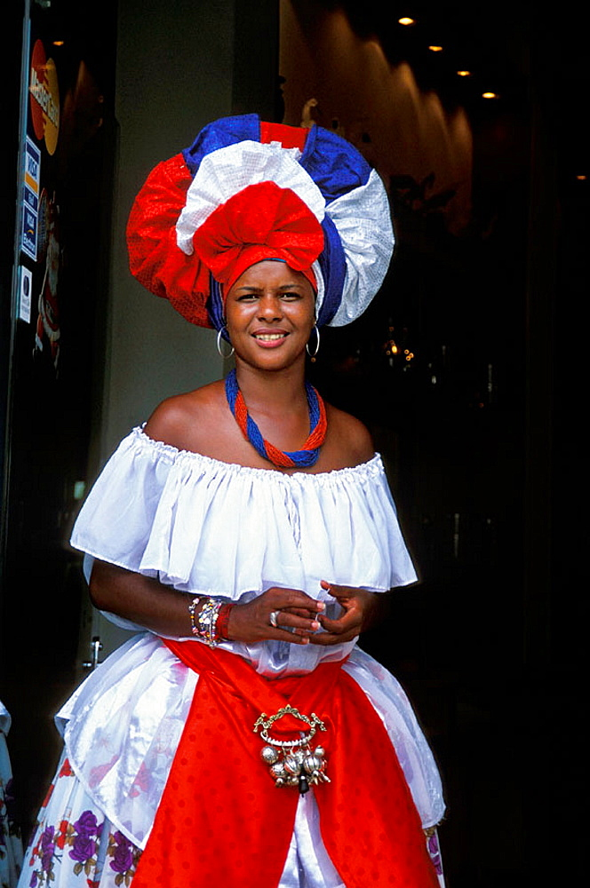 Woman in traditional dress, Salvador da Bahia, Brazil. - 817-172966
