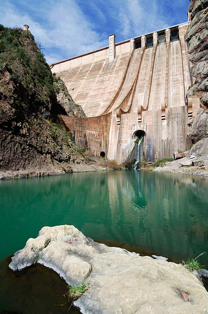 Escales dam, Noguera Ribagorzana river, Sopeira, Sierra de Sis, Huesca province, Spain - 817-177260