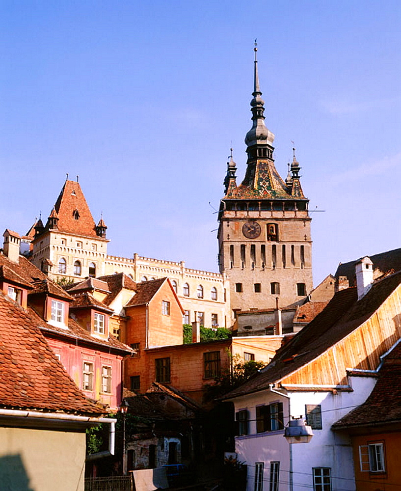 View of Sighisoara and the 'Tower of the Clock', Transylvania, Romania - 817-18093