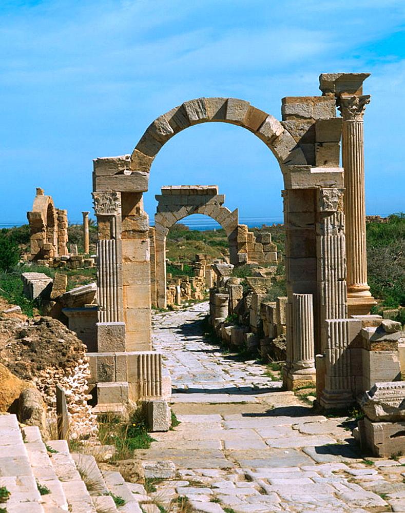 Arches of Trajan and Tiberius, Roman ruins of Leptis Magna, Libya