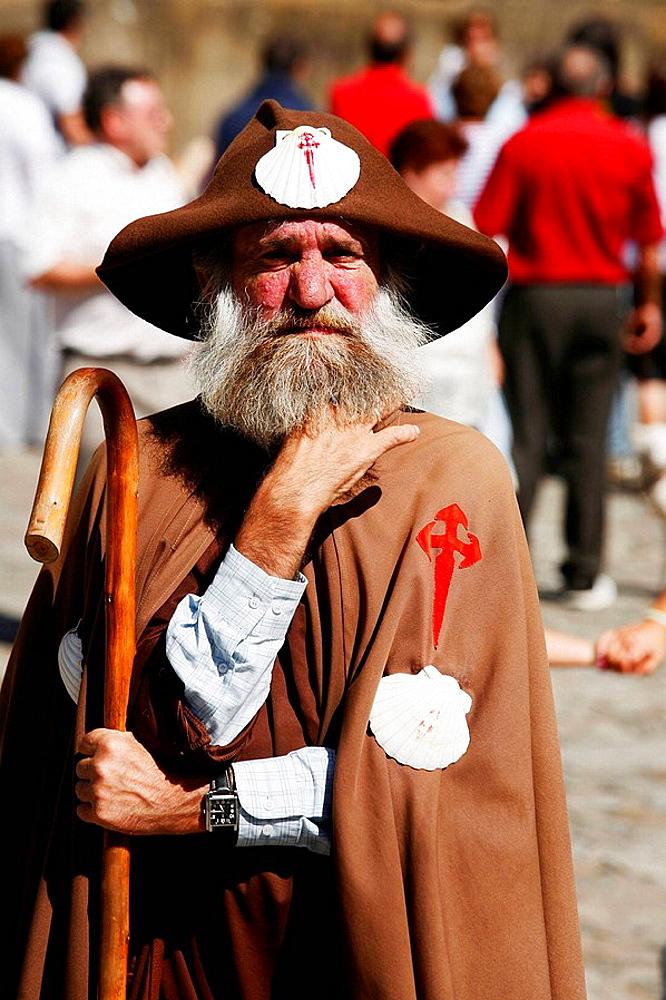Man dressed like pilgrims at Santiago de Compostela, Spain