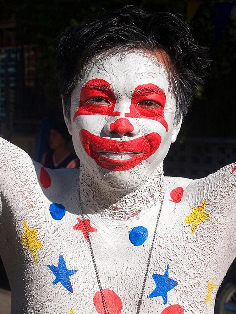 clown, Ati Atihan Festival, Kalibo, Philippines