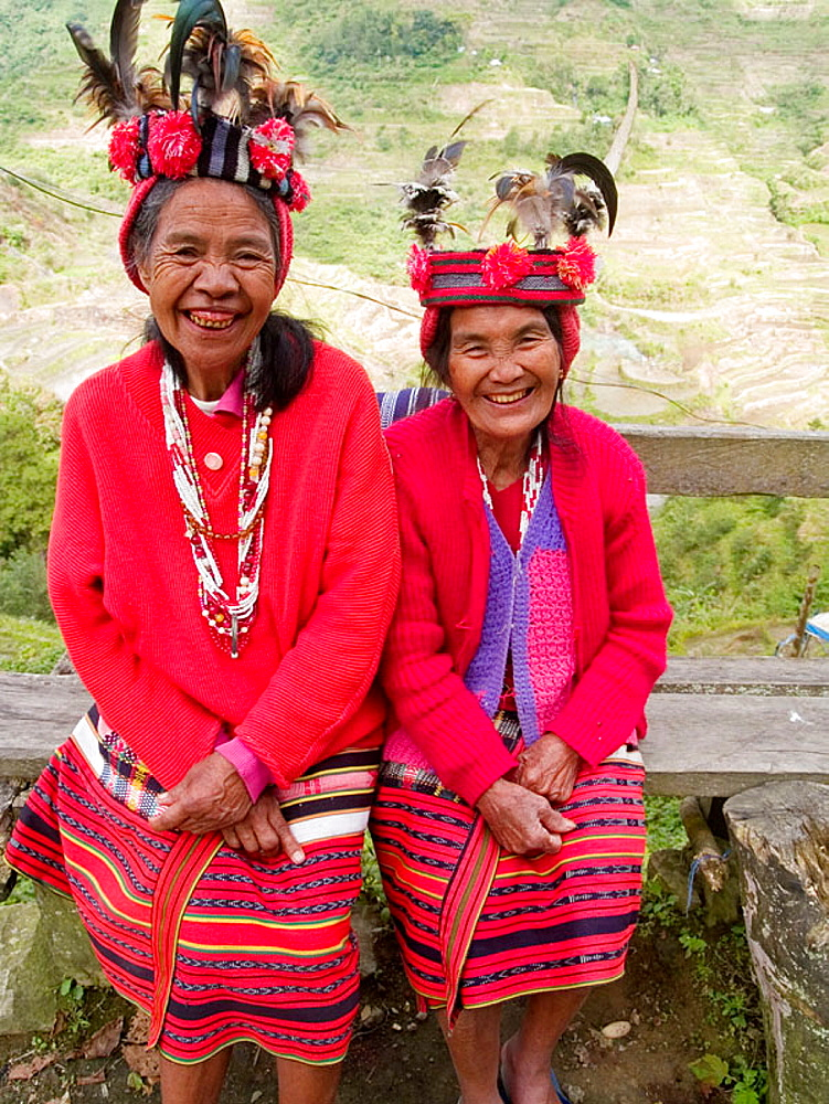 Two smiling Ifugao women, Banaue, Philippines