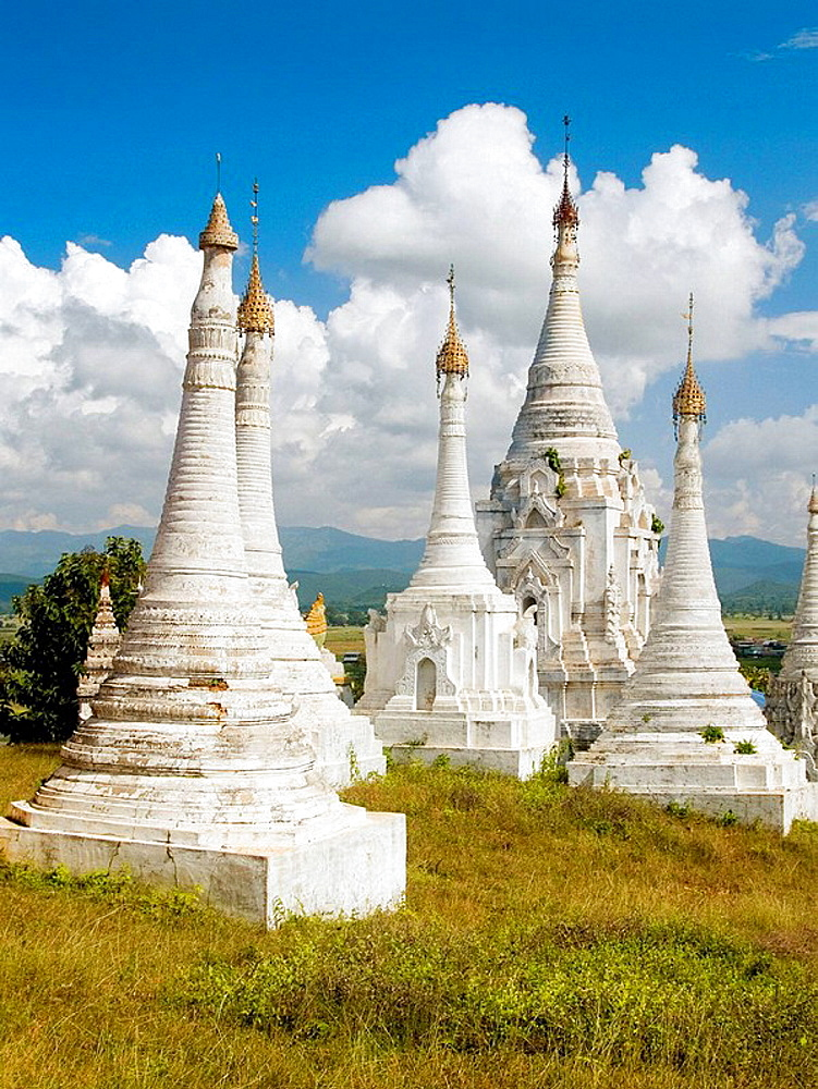 Rows of stupas in the countryside around Inle Lake in Burma