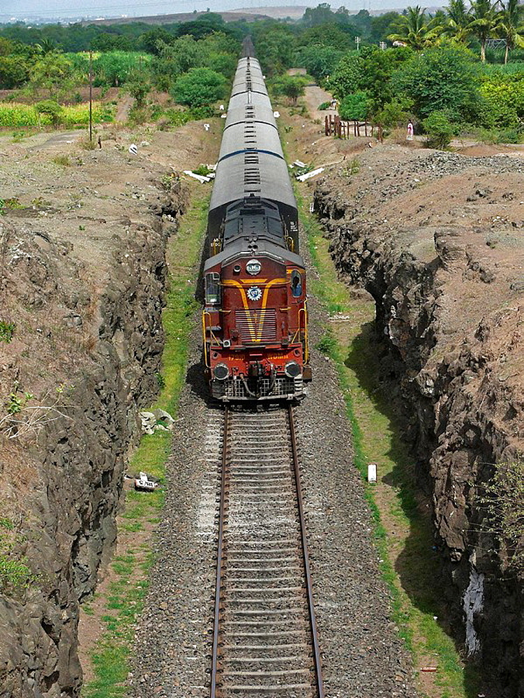 Train, Railway passing on railway track  Ramdarya, Pune, Maharashtra, India