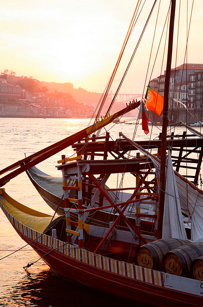Typical boats on Duero river, Porto, Portugal.