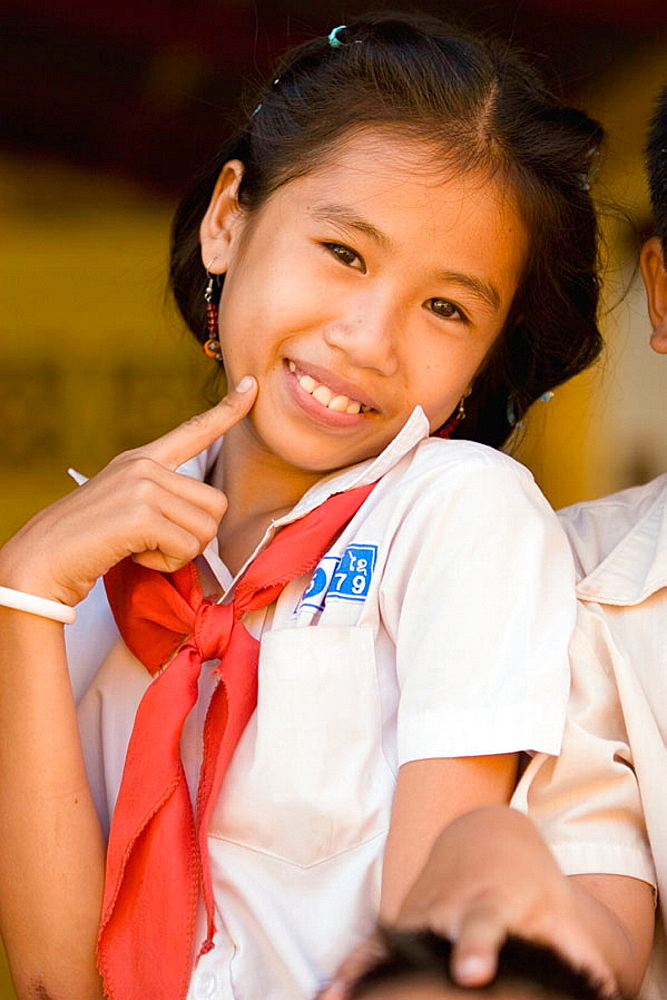 Portrait of a young student smiling, Vientiane, Laos