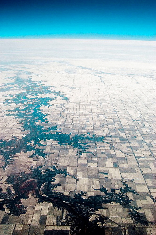 Aeirial view of farmland over Midwestern USA