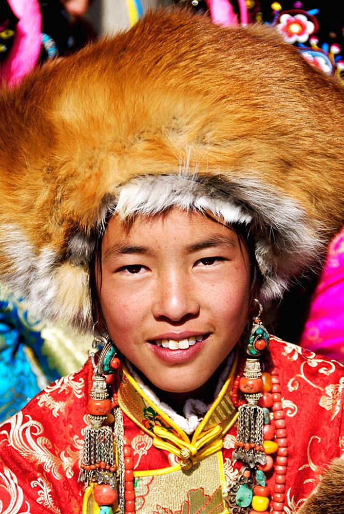 Tibetan girl, Festival, Danba, Sichuan, China