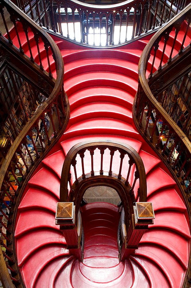Inside of Lello e Irmao bookshop, Oporto  World Heritage  Portugal