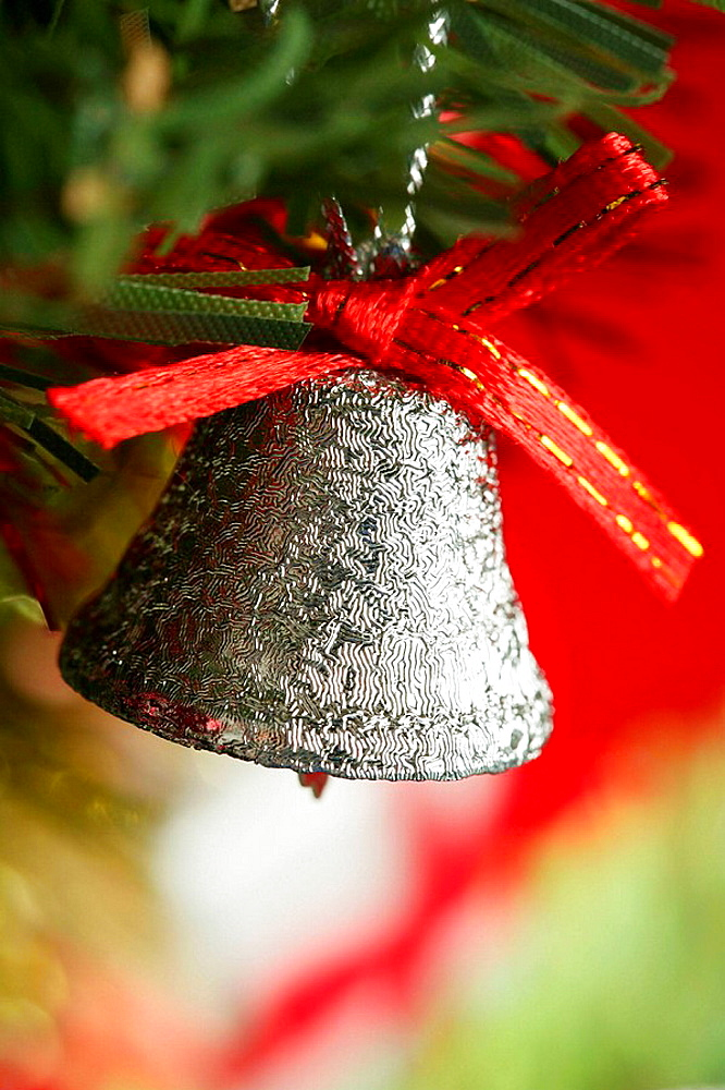Xtmas, Christmas presents macro photo: glitter silver bell