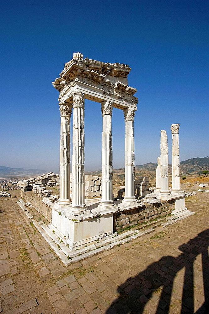 Temple of Trajan in Acropolis, ruins of Pergamon, Turkey