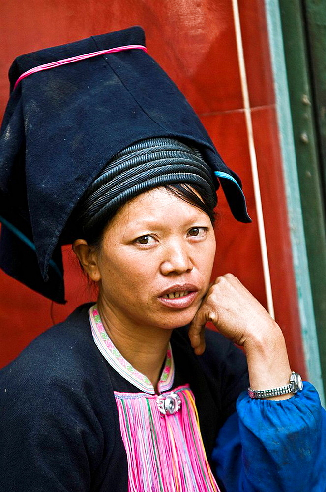 Portrait of a Black Yao woman taken in South Yunnan province, China - 817-200808