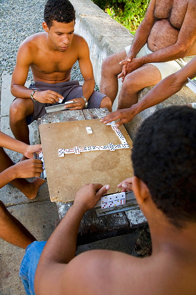 Young people playing dominos, Baracoa, Guantanamo province, Cuba