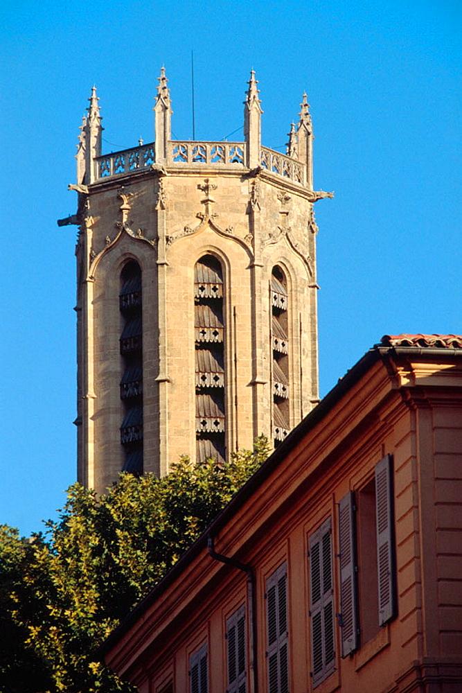 Belfry, Cathedral St-Saveur, Aix-en-Provence, Provence, France