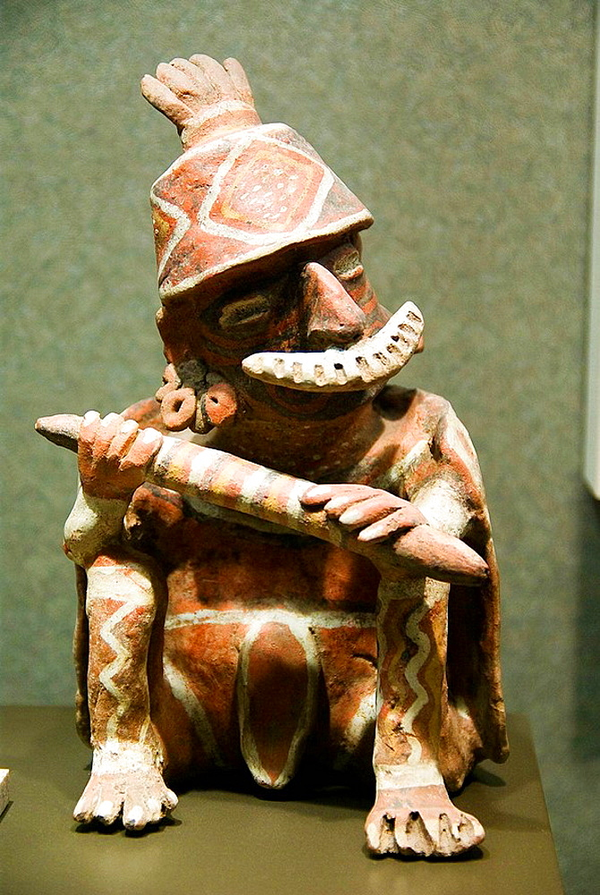 Mexico.Mexico city.National Museum of Antropology.Jalisco culture.Figure of a warrior in ceramica.