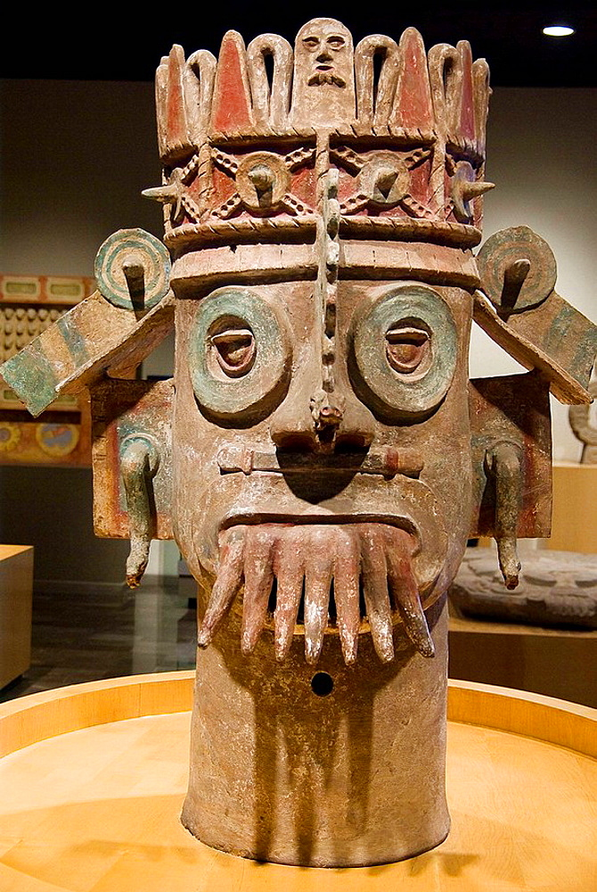 Mexico.Mexico city.National Museum of Antropology.Tajin culture.Ceramic head of the God of Storms.