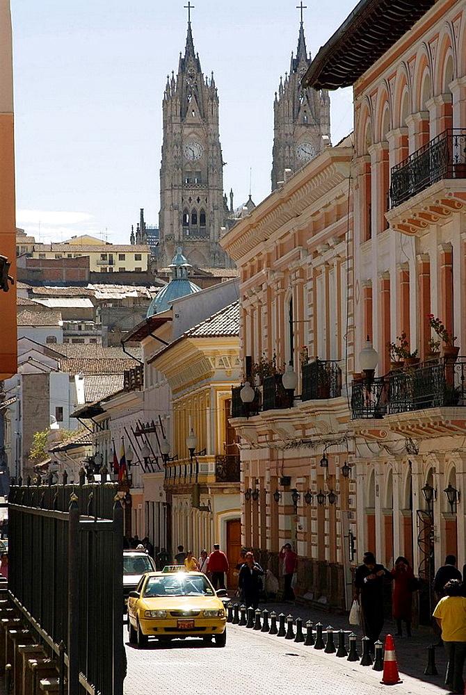 Ecuador.Quito.Historical center.Street Garcia Moreno and Basilica of the Voto Nacional (XIX-XX centurys).