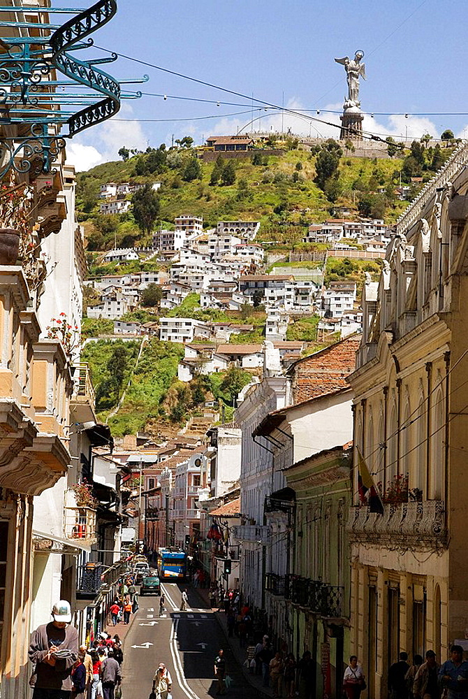Ecuador.Quito.Historical center.Street  Guayaquil and The Panecillo With Virgin of Quito.