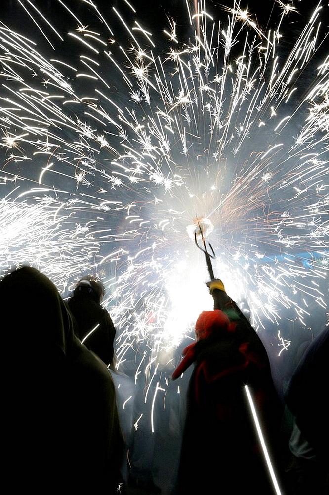 Correfoc, parade including fire works, Catalan traditional festival.