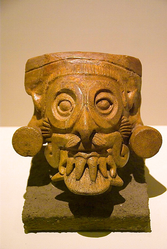 El  Salvador, San Salvador city, MUNA (National Museum of Antropology).Vessel of Tlaloc.Ceramic leaden .Pre-Columbian art.