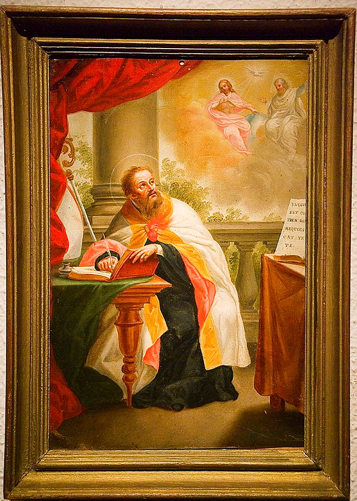 Ecuador, Guayaquil city, Museum of Nahim Isaias, Religious painting, Colonial art, San Agustin meditating on the mystery of the Trinity, XVIII century, Anonymous, Oil on canvas.