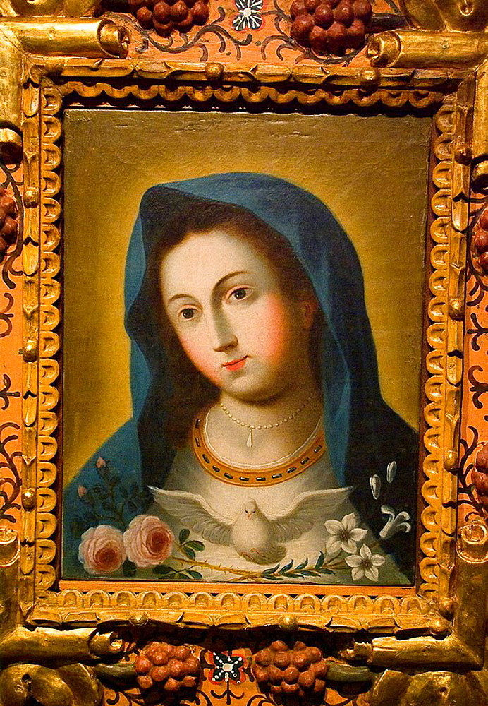 Ecuador, Guayaquil city, Museum of Nahim Isaias, Religious painting, Colonial art, Mary Immaculate with roses, lilies and The Holy Spirit, XVI century, Anonymous, Oil on canvas.