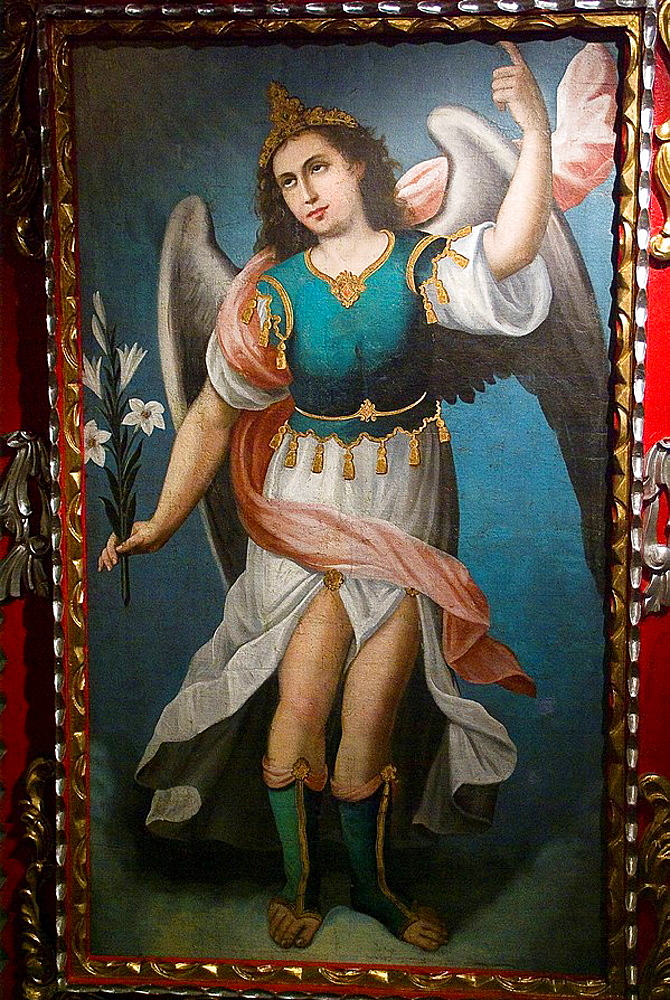 Ecuador, Guayaquil city, Museum of Nahim Isaias, Religious painting, Colonial art, San Gabriel Arcangel, XVIII century, Anonymous, Oil on canvas.