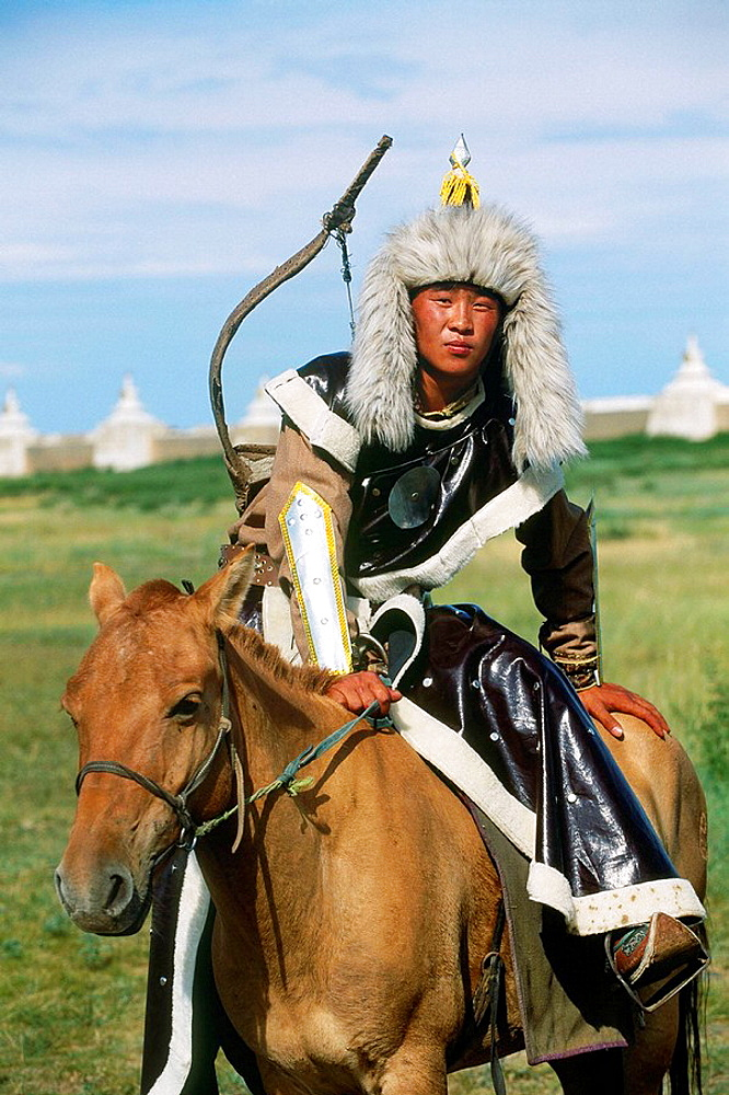 Rider dressed for a festival commemorating the 800th birthday of the mongolian empire, Erdene Zuu monastery, Kharkhorin, Mongolia