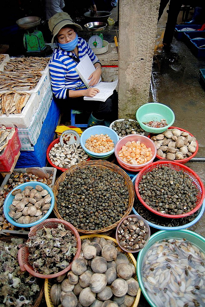 Woman selling many differetn kinds fo shellfish at the Cat Ba town market, Cat Ba island, Halong bay, Vietnam, Most vietnamese women were face masks to protect their skin from the sun.