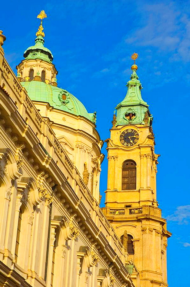 Tower of Sv Mikulas church in Mala Strana central Prague Czech Republic EU