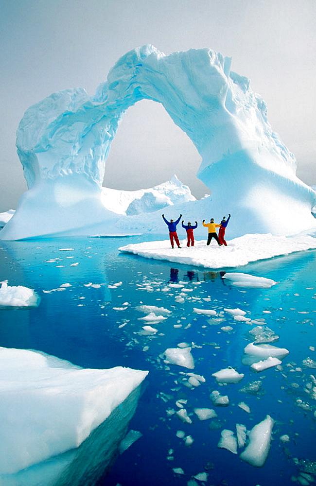 Men on ice, Petermann Island, Antarctic Peninsula - 817-2147