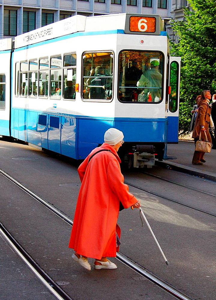 Old woman, tramway, Zurich, Switzerland