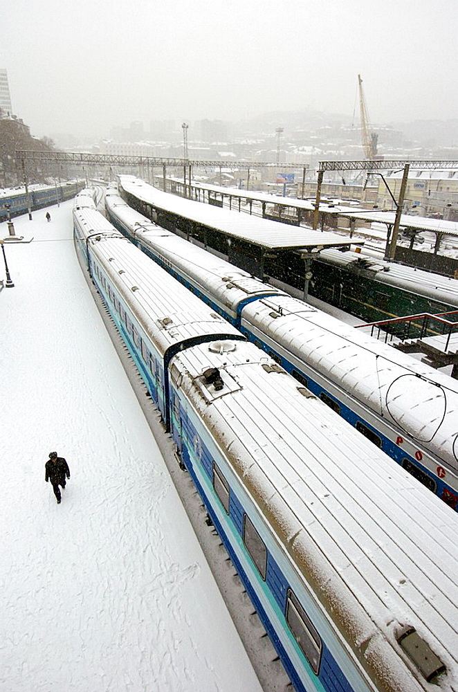 Trans Siberian Railway at Vladivostok station in winter