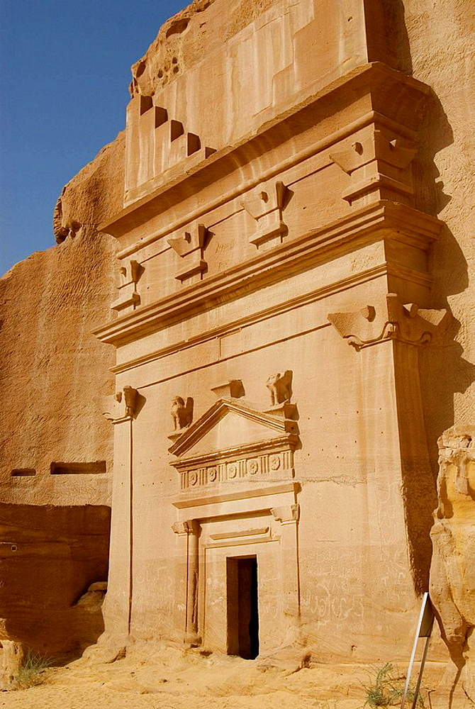 Saudi Arabia, site of Madain Saleh, ancient Hegra, tombs of Nabatean town, Al Khurimat area