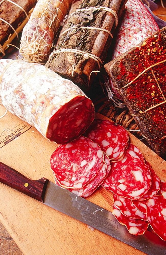 Meat products from a shop in Greve in Chianti, Chianti, Tuscany, Italy