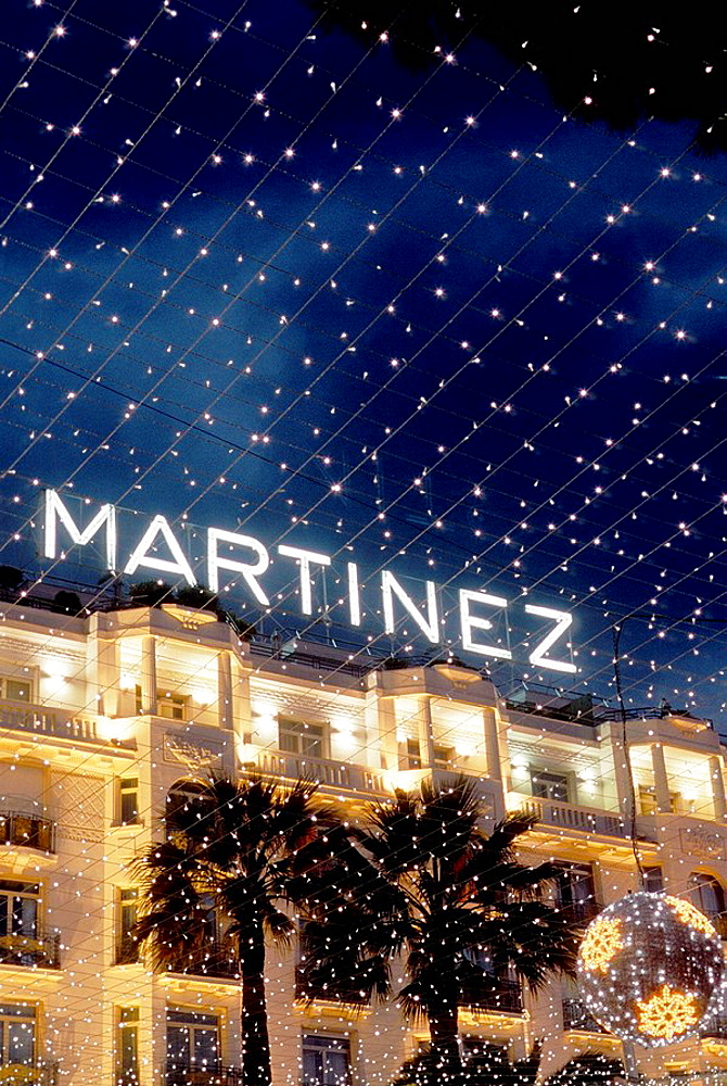 The Martinez palace at night during Christmas time on the Croisette Alpes-MAritimes 06 France Europe