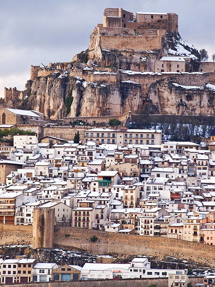 Overview of the Medieval town of Morella and its castle in winter - Maestrazgo - Castellon - Spain