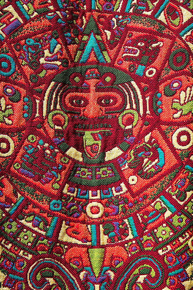 Colourful table cloth for sale in market, Teotihuacan Archaeological Site, Teotihuacan, Mexico City, Mexico