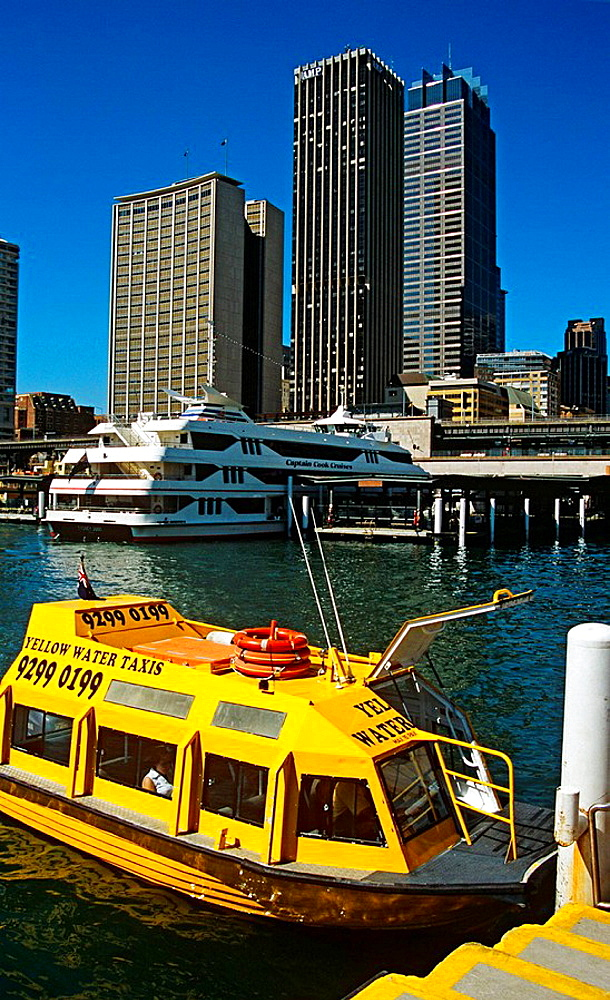 Yellow water taxi at Circular Quay, Sydney Cove, Sydney Harbour, Sydney, New South Wales, Australia