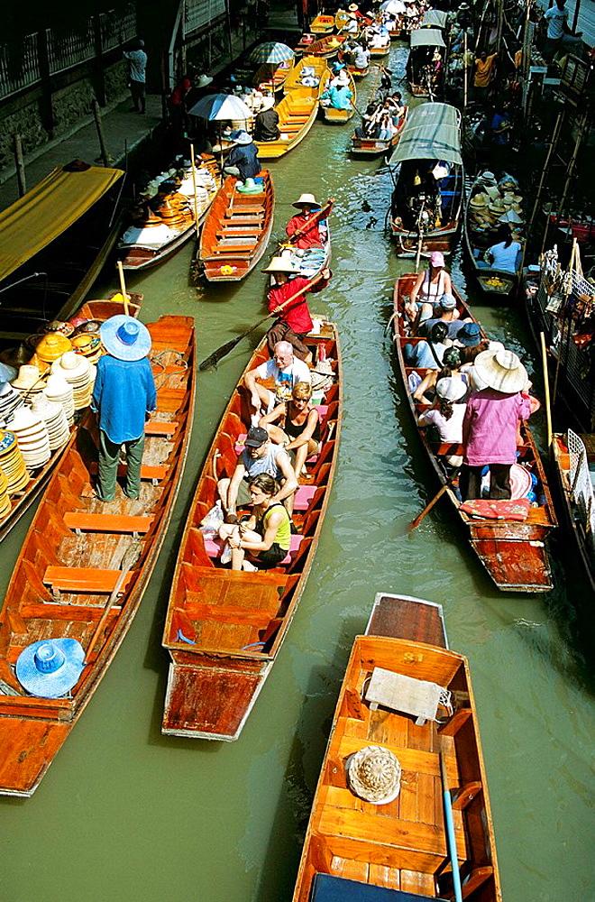 Several boats, Damnoen Saduak floating market, Ratchaburi Province, near Bangkok, Thailand - 817-224771
