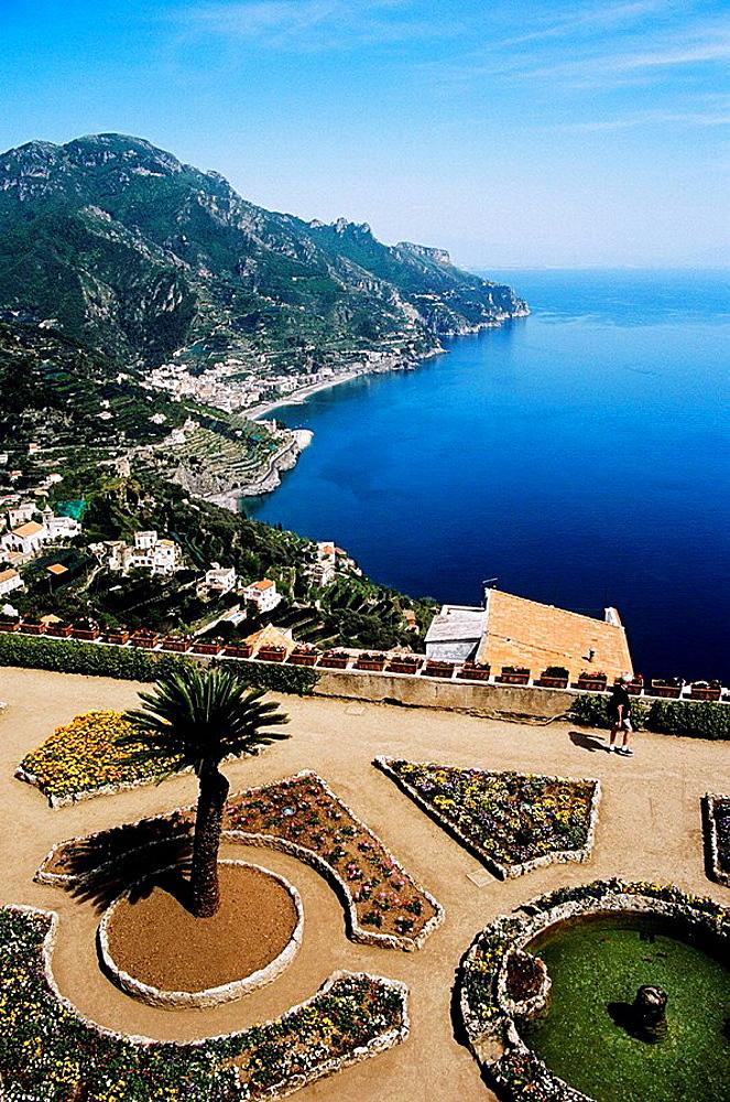 View from garden, Villa Rufolo, Ravello, Amalfi Coast, Campania, Italy