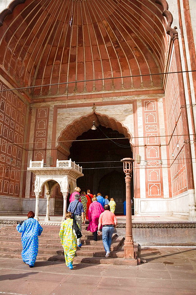 People visiting the Jama Masjid Mosque, Old Delhi, Delhi, India