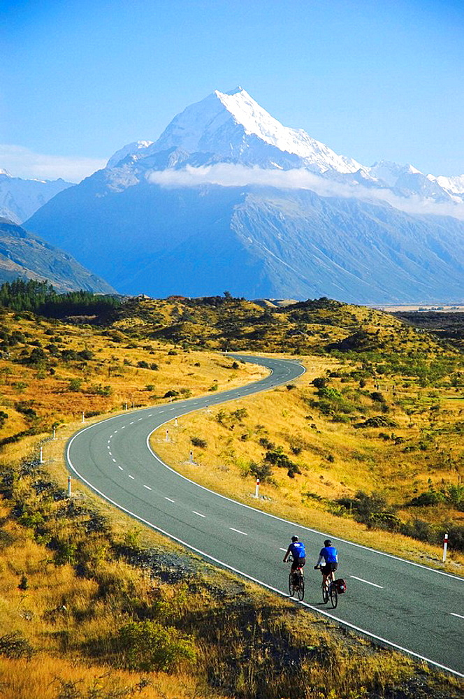 Cyclist riding to Mt Cook New Zealand