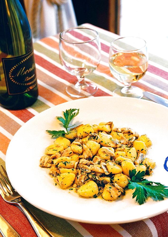 Trattoria (restaurant) Buonamico, 'Topini alle Acciughe e Buccia di Limone',  Viareggio, Lucca province, Tuscany, Italy